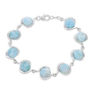 Birthday Gift Anniversary Gift for Her 925 Sterling Silver Larimar 7x5mm Natural Gemstone Larimar Statement Bracelet Special Occasion