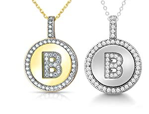 8facbdc02972f7 Enhance your look with these astonishing Sterling Silver or Gold Plated Micro  Pave Cubic Zirconia Initial Circle Pendant Necklace!
