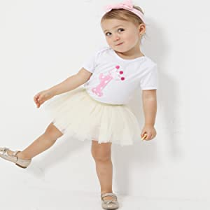Gotd Newborn Infant Baby Girl Boy Tutu Skirt Hat Set Christmas Gifts 0-4 Months White, 0-4Months