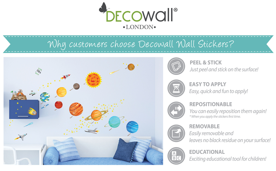 Amazon Decowall Dw 1501s The Solar System Kids Wall Stickers
