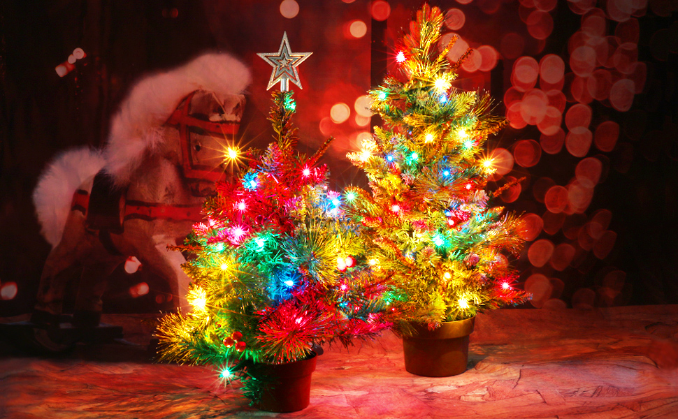 Casa Clausi Christmas Tree Tabletop Decorated Pre Lit Small Little 22 Inch With Ornaments 35 Multi Colored Lights Artificial Green Tree Kitchen Dining