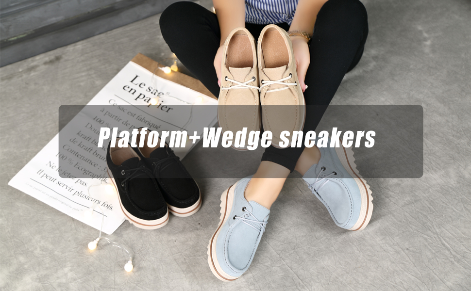 734e3951424ea HKR Women Lace Up Suede Platform Sneakers Low Top Wide Toe Mid Heel ...