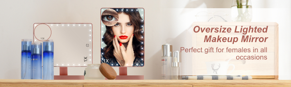 extra large lighted makeup mirror with magnification 10X