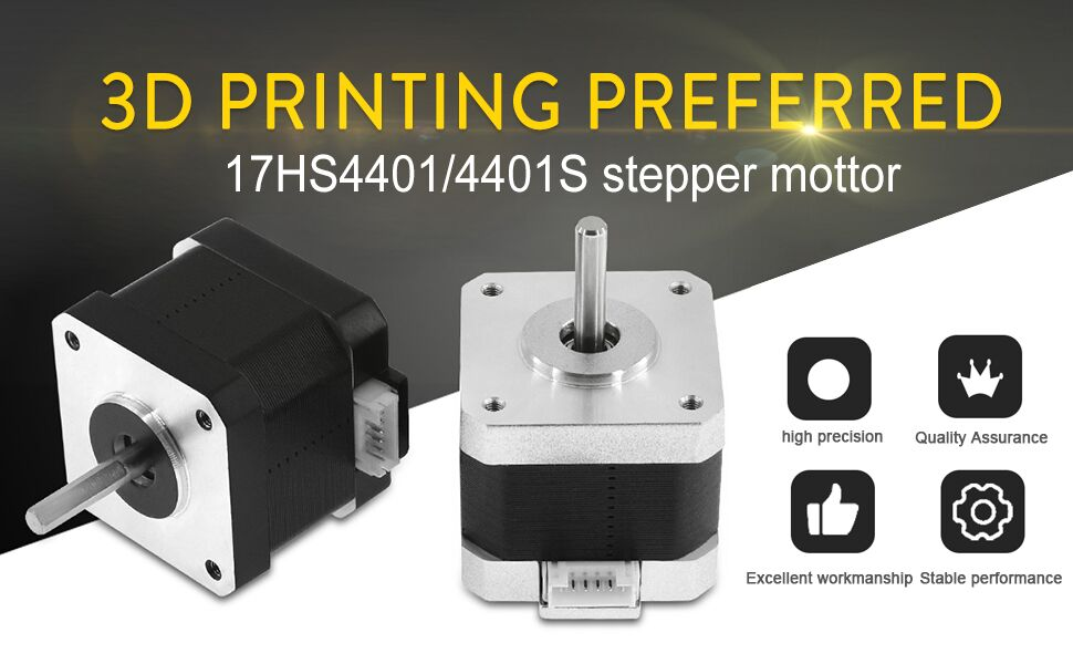 Usongshine Nema 17 Stepper Motor 1.5A 1.8/°4 Lead 17HS4401 for 3D Printer CNC XYZ with 1M Wire with Insulated Sleeves 17HS4023, 1