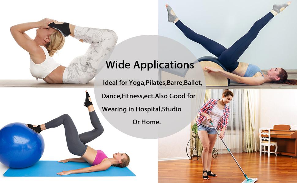 Yoga Socks Non Slip Pilates Barre Ballet Toes with Grips for Women