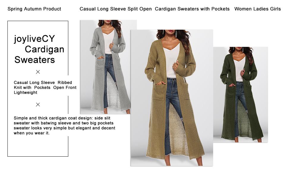 52c9df997e Long Cardigan Sweaters for Women with Pockets Side Split Light ...