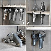handgun hangers pistol .22 caliber gun safe accessories storage organize gun cabinet