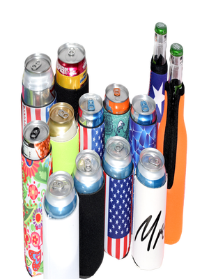 koozies,can,sleeves,bottle,16 oz,24 oz,slim,tall boy,US flag,mr and mrs,flowers,foam,neoprene,black,