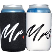 mr and mrs,mr amp; mrs,wedding,koozie,coozie,can,cooler,beer,gift,sleeve,white,black,engagement ,