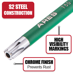 ARES Star Key set is made to last with Premium S2 steel construction and lasting finish details