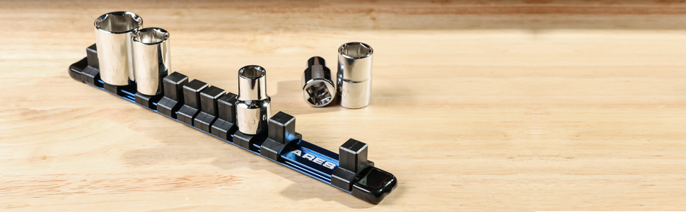 1/2-inch Drive 9.84-inch Socket Rail Store up to 10 Sockets and Keep Your Tool Box Organized