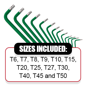 Our 13 piece star key kit includes many sizes from T6 to T50