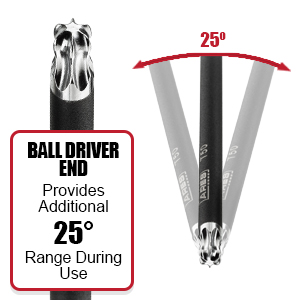 Ball end provides 25 degrees more range during use