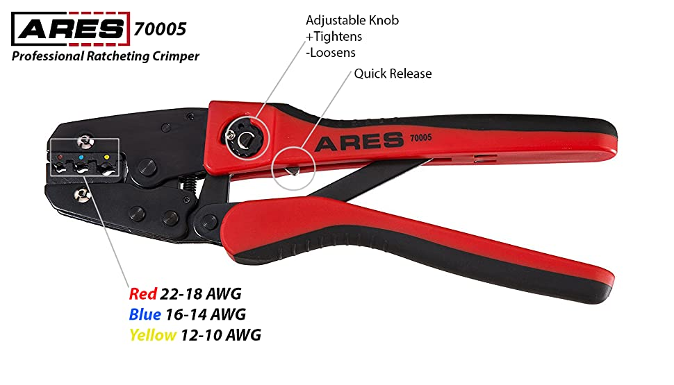 Ares 70005 Professional Ratcheting Wire Terminal Crimper
