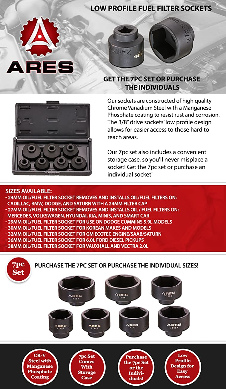Ares 71150 7 Piece Low Profile Fuel Filter Socket Set Griffin Filters Product Description
