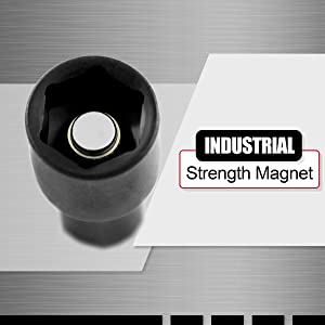 Industrial strength magnets keep nut setters in place for bit retention