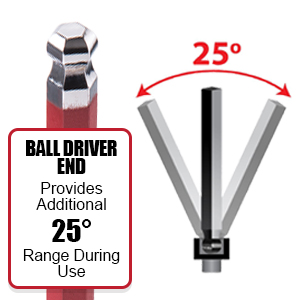 Our Ball Driver end Hex Keys allow 25 degrees additional range for hard to reach areas and projects