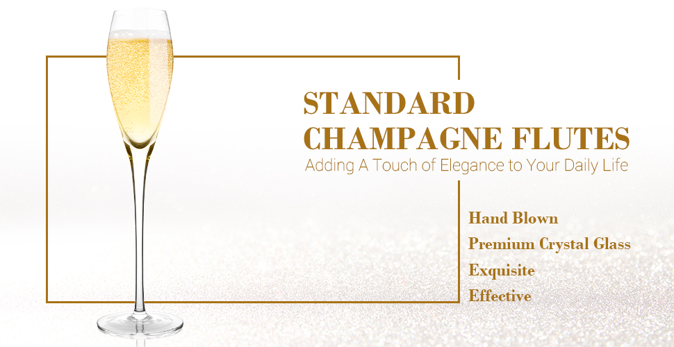 Hand Blown Crystal Champagne Flutes - Bella Vino - HK Shared Dream