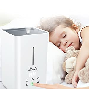 mooka air humidifier with sleep mode, best quiet humidifier for bedroom