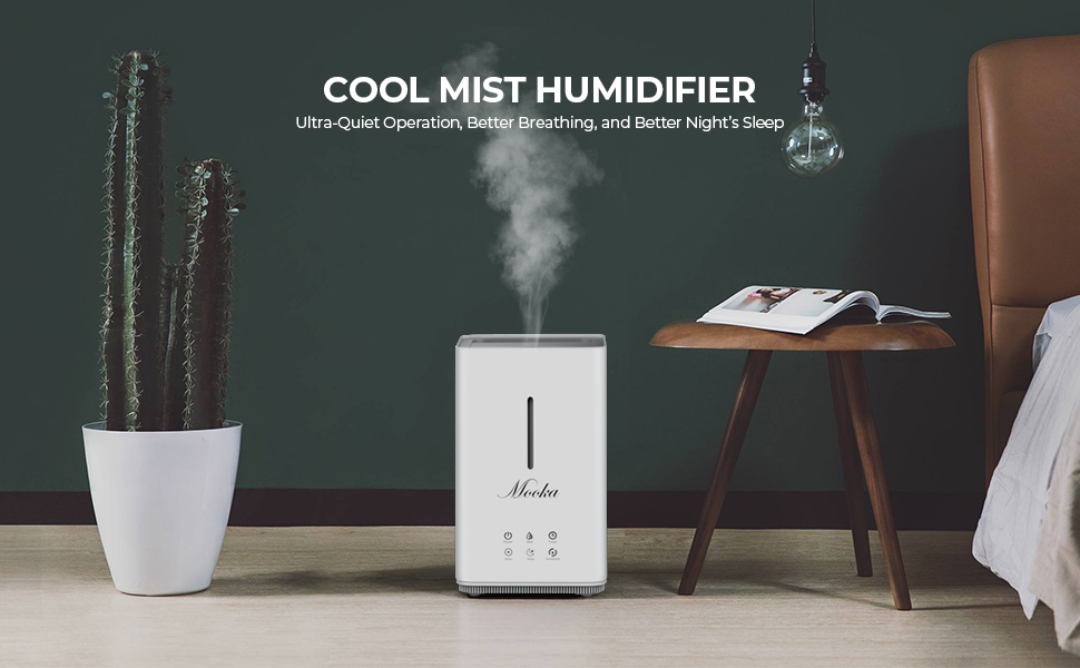 mooka ultrasonic humidifier, cool mist humidifier for bedroom, best humidifier, quiet humidifier