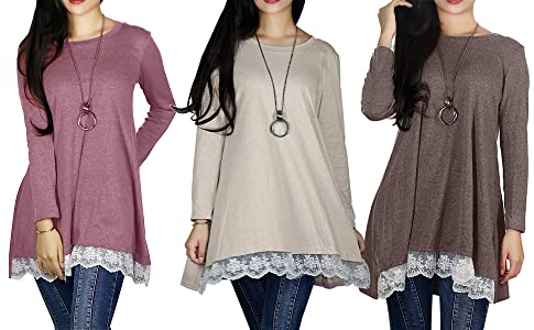 93b91576188a6 Sunfung Women s Lace Long Sleeve Tunic Tops Shirt Clothing Scoop ...