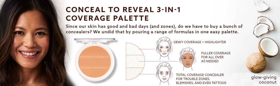 3-in-1 coverage palette concealer conceal to reveal