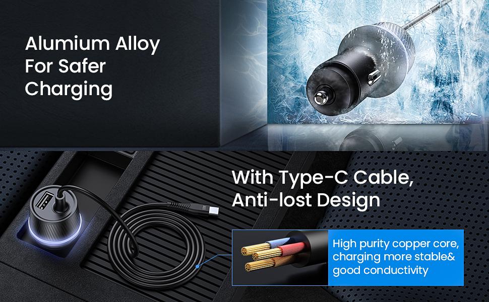 Amazon.com: Cargador de coche USBC. Plateado: Home Audio ...