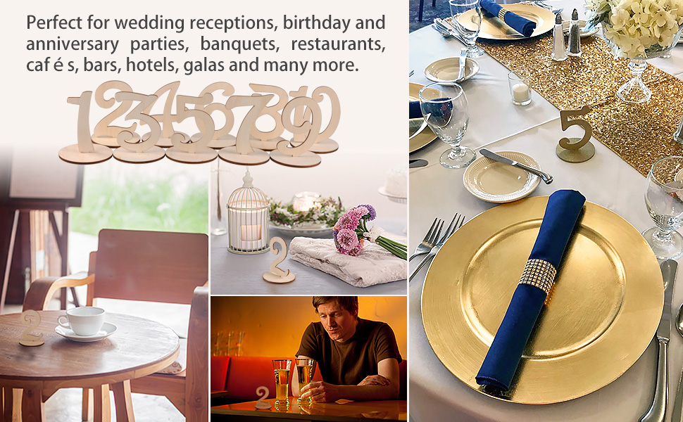 1-10 EJY Wedding Table Stand Table Number Display Holder Wooden Table Decoration for Birthday Wedding Party Hotel