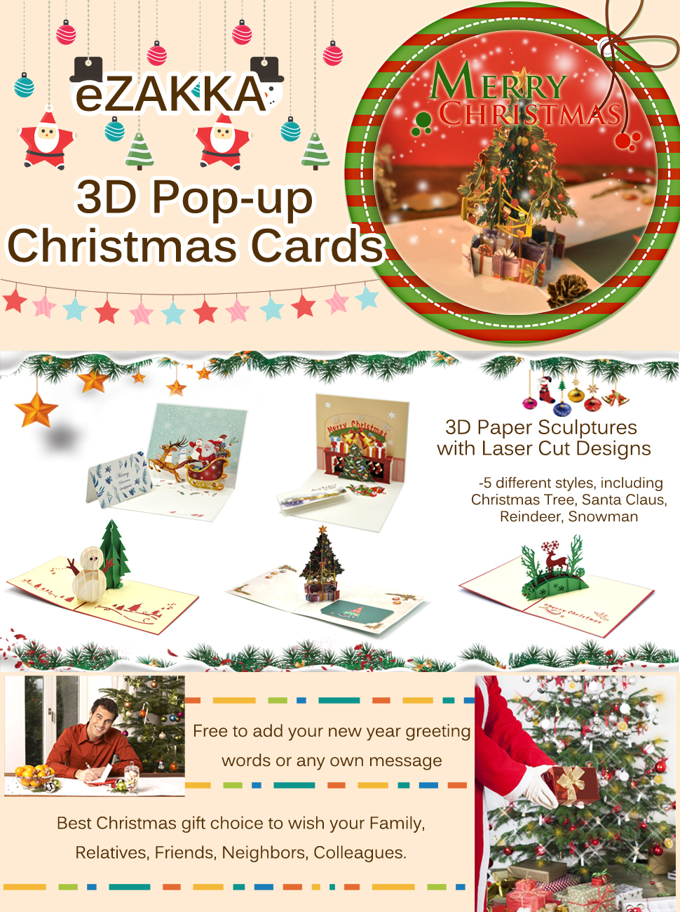 Amazon Ezakka Christmas Cards 3d Pop Up Holiday Greeting Gifts