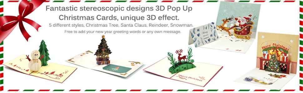 Amazon Com Christmas Cards Ezakka 3d Christmas Cards Pop Up