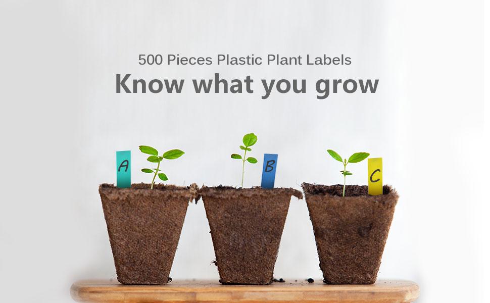eZAKKA 500pcs 2 Inches Plastic Plant Labels Plant Nursery Garden Labels Stakes Pot Marker Plant Garden Tags Multi-Color