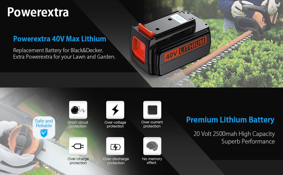 a346338068 Powerextra 2500mAh 40V Max Replacement Battery for Black Decker LBX2040  LBX36 LBXR36 LBXR2036