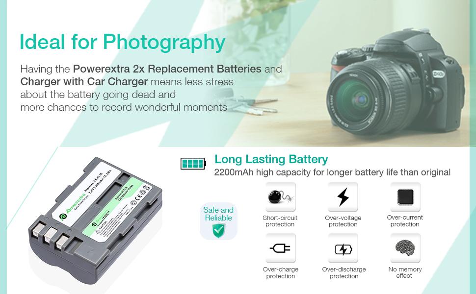 EN-EL3E Powerextra 2X EN-EL3E Battery & Charger Compatible with Nikon D50, D70, D70s, D80, D90, D100, D200, D300, D300S, D700 D900 Digital Cameras ...