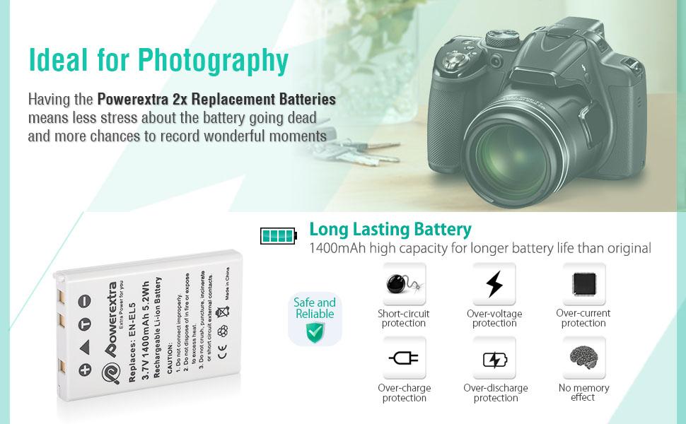P500 P520 Cargador para Nikon Coolpix P100 P510 2x Baterìas EN-EL5 ENEL5
