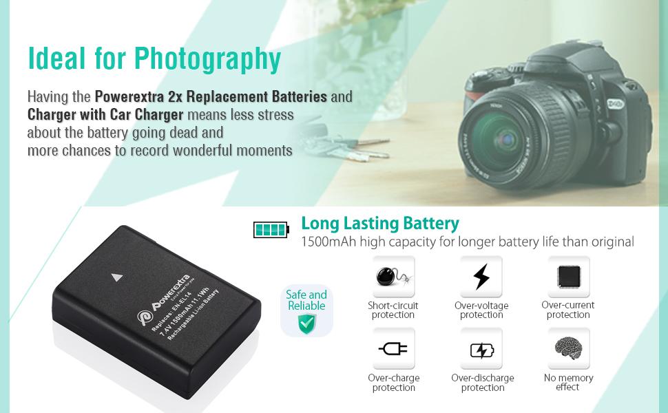 Powerextra EN-EL14 EN-EL14a 2 x Battery & Car Charger Compatible with Nikon D3100 D3200 D3300 D3400 D3500 D5100 D5200 D5300 D5500 D5600 P7000 P7100 ...