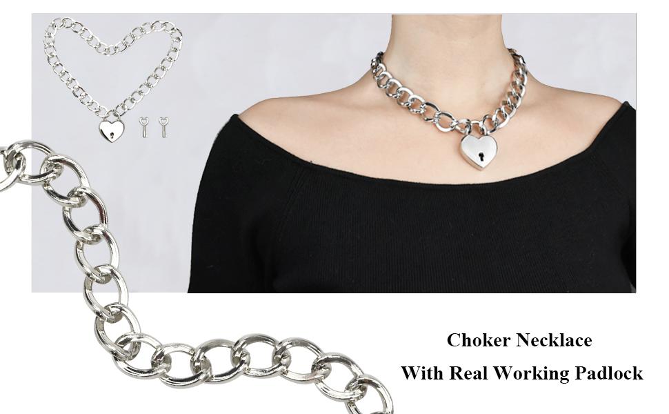 Lariat chain lock collar choker pink heart blue heart, Choice in locks-Silver heart silver square BDSM discreet  collar