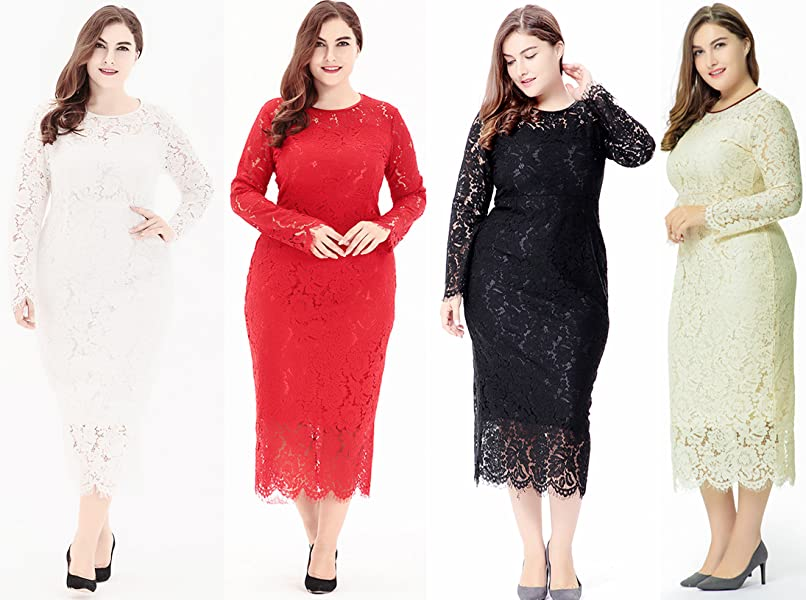 Eternatastic Womens Floral Lace Long Sleeve Plus Size Lace Dress