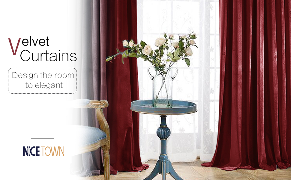 Amazon.com: NICETOWN Red Velvet Curtains And Drapes For