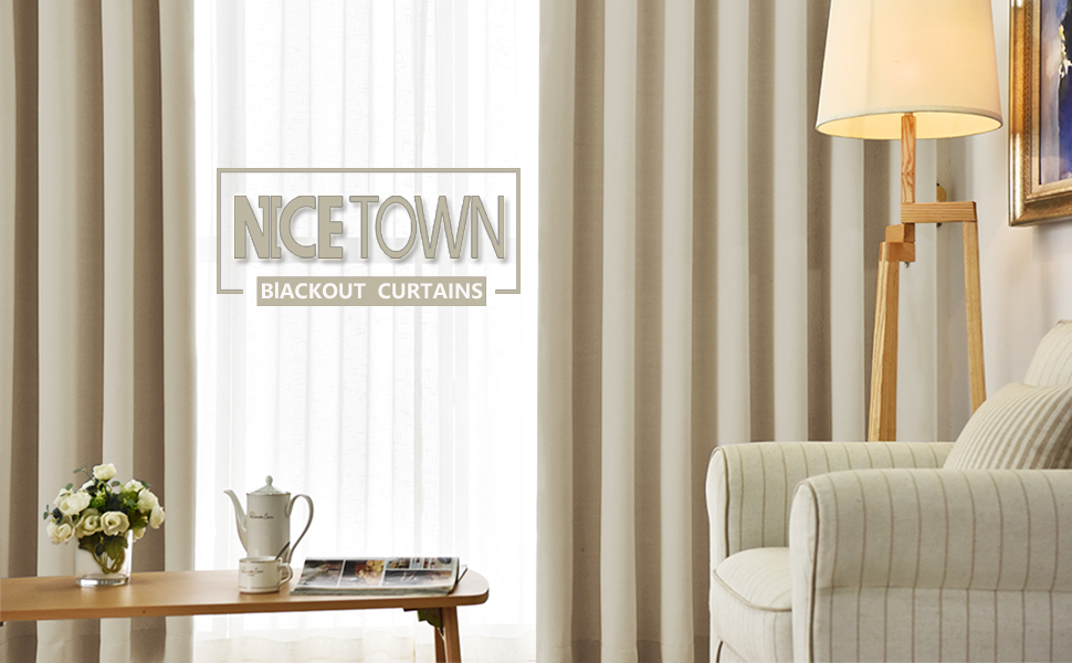 NICETOWN Thermal Insulated Eyelet Top Room Darkening Panels / Curtains / Drapes for Bedroom Beige