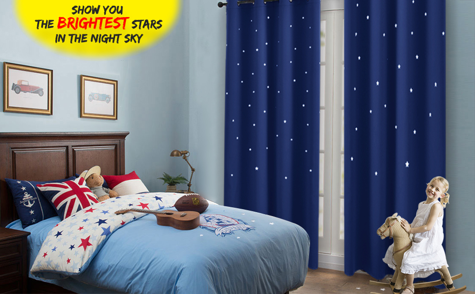 Amazon.com: Navy Stars Kids Room Curtain - NICETOWN Space Inspired ...
