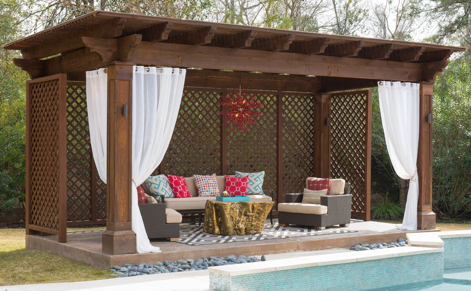Modern And Simple Style Of NICETOWN Outdoor Sheer Curtains Make Them  Applicable To The Decoration Of Front Porch, Pergola, Cabana, Covered Patio,  Gazebo, ...