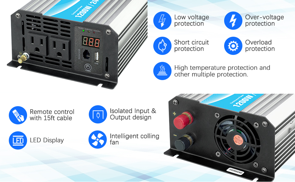 Power Inverter Pure Sine Wave 1200Watt 12V DC to 110V 120V