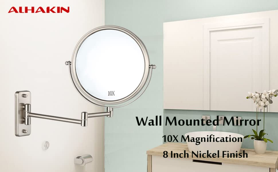 Amazon Alhakin Wall Mounted Makeup Mirror 10x Magnification 8