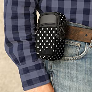Compact Point and Shoot Camera Sling Bag by USA Gear with Rain Cover and Shoulder Sling Strap
