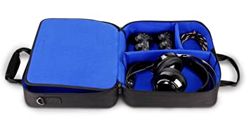 Inside of the case with controllers, headset, cables and more