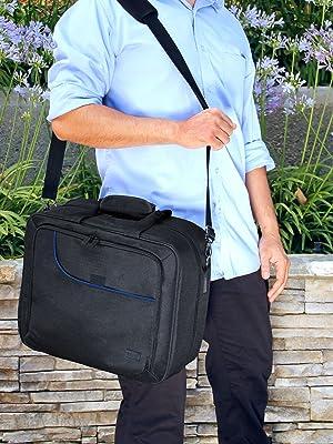 man holding case with shoulder strap