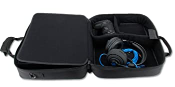 Open case showing controller with headset and cable