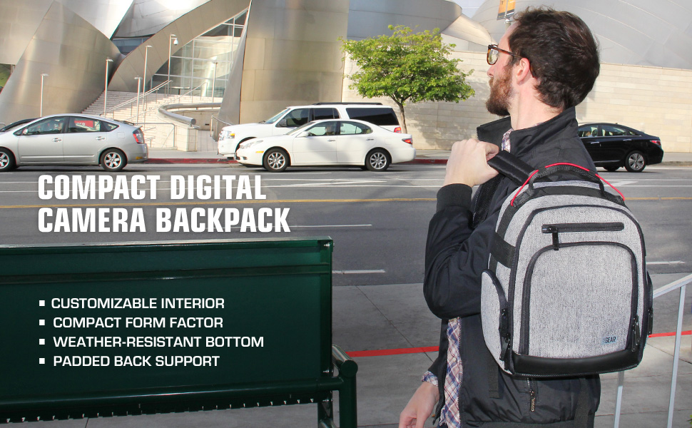 USA Gear UBK DSLR Camera Backpack with Customizable Accessory Dividers and Weather Resistant Bottom