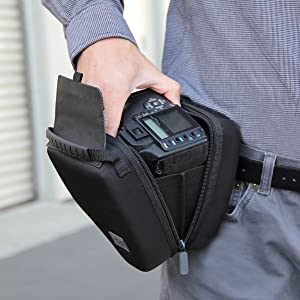 Quick Access DSLR Hard Shell Camera Case w/Molded EVA Protection and Accessory Storage - by USA Gear