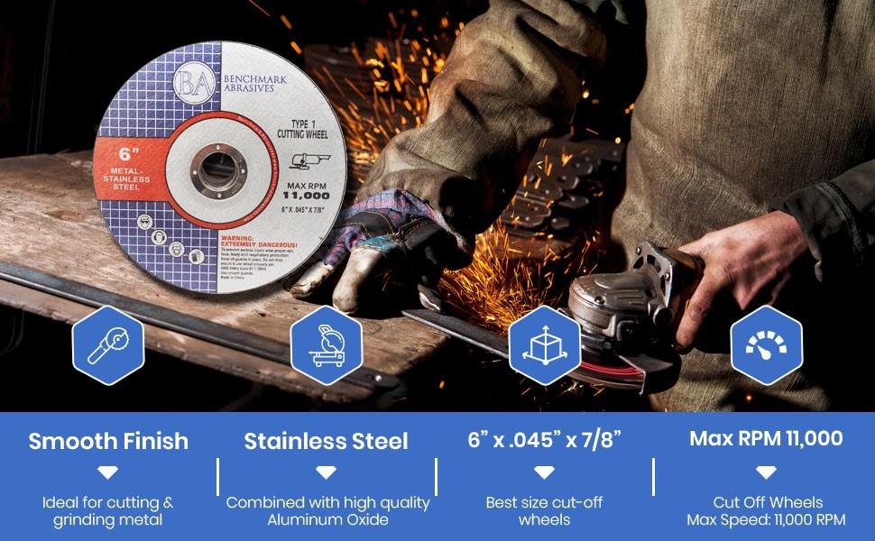 "25 pack 6/"" x .045 x 7//8/"" T1 Premium Thin Cut-Off Wheel Metal  Stainless Steel"